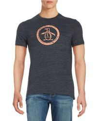 Original Penguin - Blue Cotton Logo Tee for Men - Lyst