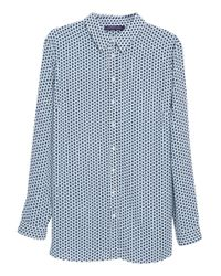 Violeta by Mango | Blue Printed Flowy Shirt | Lyst