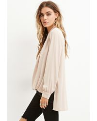 Forever 21 - Natural Drapey Surplice Top - Lyst