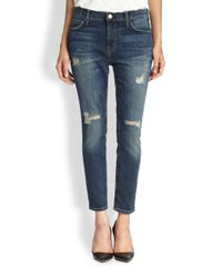 Current/Elliott - Blue The Stiletto Distressed Cigarette Jeans - Lyst