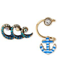 Betsey Johnson | Blue Gold-Tone Anchor Cuff And Wave Stud Earring Set | Lyst