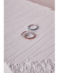 Missguided - Multicolor Thin Stone Detail Stacking Rings Set Multi - Lyst
