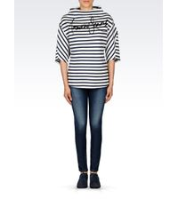 Armani Jeans   Black Sweatshirt With Striped Pattern   Lyst