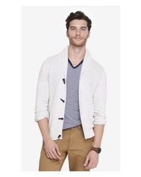 Express - White Mixed Stitch Shawl Collar Toggle Cardigan for Men - Lyst