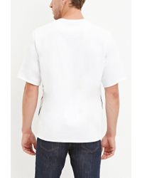 Forever 21 - White Striped Fleece Tee for Men - Lyst