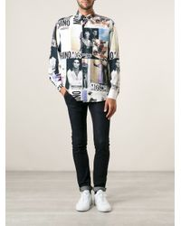 Moschino - White Collage Print Shirt for Men - Lyst