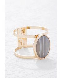 Forever 21 | Metallic Faux Stone Cutout Hinge Bracelet | Lyst