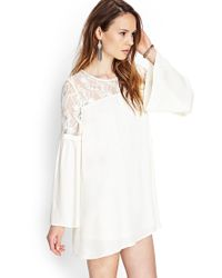 Forever 21 - Natural Crocheted Lace Shift Dress - Lyst