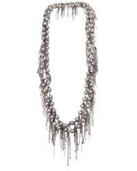 Samira 13 | Metallic Fringe Pearl Necklace | Lyst