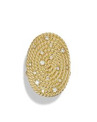 David Yurman | Metallic Cable Coil Ring With Diamonds In Gold | Lyst