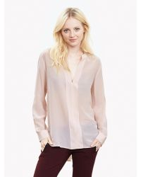 Banana Republic | Pink Silk Banded V-neck Blouse | Lyst