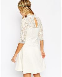 ASOS | Natural Skater Dress With High Neck And Mixed Lace Inserts | Lyst