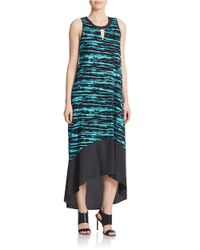 Kensie - Blue Scratched Stripes Hi-lo Dress - Lyst