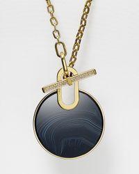 "Michael Kors   Black Circle Pendant Necklace, 32""   Lyst"