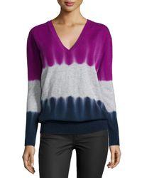 Autumn Cashmere - Blue Cashmere V-neck Tie-dye Sweater - Lyst