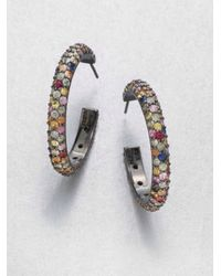 M.c.l  Matthew Campbell Laurenza | Multicolored Sapphire & Sterling Silver Hoop Earrings/2.5 | Lyst