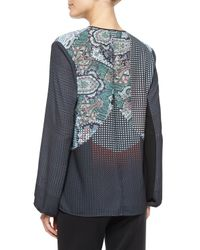 Clover Canyon - Gray Kaleidoscope Paisley Printed Peasant Top - Lyst