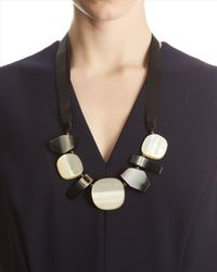 Jaeger - Black Imitation Shell Resin Necklace - Lyst