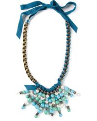Lanvin - Blue Beaded Necklace - Lyst