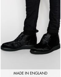 ASOS | Black Chukka Boots In Pony Effect Made In England for Men | Lyst