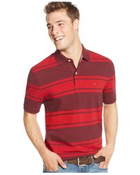 Tommy Hilfiger | Red Adam Striped Polo for Men | Lyst