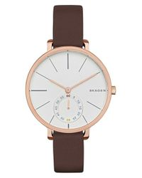 Skagen | Brown 'hagen' Leather Strap Watch | Lyst