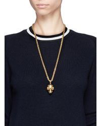 Alexander McQueen - Metallic Mask Skull Pendant Necklace - Lyst