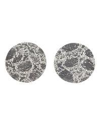Sara Gunn - Gray Etched Stud Earrings - Lyst
