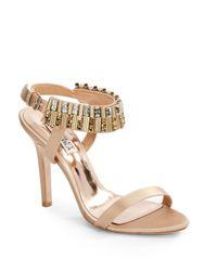 Badgley Mischka - Metallic Kallan Rhinestone Ankle Strap Satin Sandals - Lyst