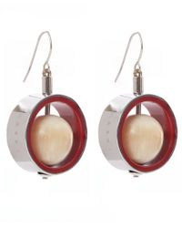 Marni | Metallic Silver-tone Metal Hoop Spinning Sphere Earrings | Lyst