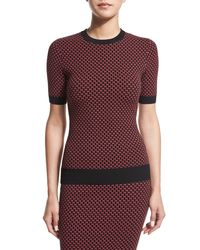 Michael Kors - Red Diamond Jacquard Crewneck Sweater - Lyst
