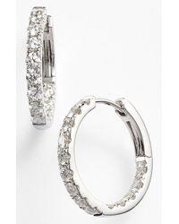 Bony Levy - Metallic Diamond Inside Out Hoop Earrings - Lyst