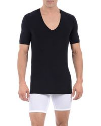 Tommy John | Black 'cool Cotton' Deep V-neck Undershirt for Men | Lyst