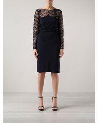 David Meister - Blue Sheer Lace Dress - Lyst