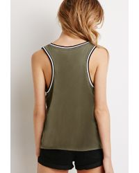 Forever 21 - Green Varsity-striped Tank - Lyst
