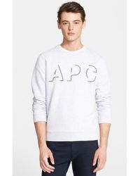 A.P.C. - Gray Embroidered Shadow Logo Sweatshirt for Men - Lyst