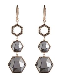 Swarovski | Metallic Rose Gold-Tone Crystal Earrings | Lyst