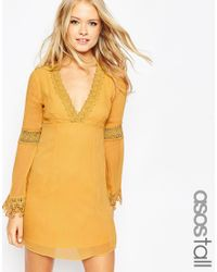 ASOS - Yellow Tall Skater Dress With Lace Inserts And Fluted Sleeve - Lyst