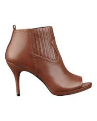 Nine West | Brown Kryzlite Peep Toe Booties | Lyst