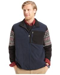 Izod | Blue Mixed-media Fleece Vest for Men | Lyst