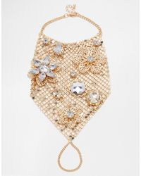 ASOS - Metallic Chainmail 3D Flower Hand Harness - Lyst