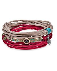 Platadepalo | Multicolor Trend Red And Brown Silk Bracelet | Lyst