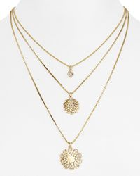 kate spade new york | Metallic Multi Strand Pendant Necklace, 22"