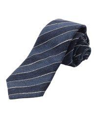 Brunello Cucinelli | Blue Diagonal Stripes Tie for Men | Lyst