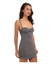 Tommy Bahama - Gray Pearl Solid Twist Front Cup Long Shirred Onepiece - Lyst
