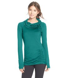 Zella | Green 'all Out' Ruched Pullover Top | Lyst