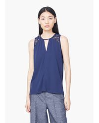 Mango | Blue Decorative Embroidery Top | Lyst