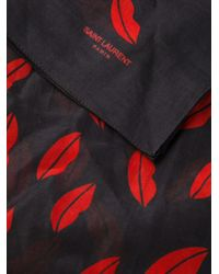 Saint Laurent - Red Lip Print Scarf - Lyst