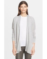 VINCE | Gray Drop Shoulder Cardigan | Lyst