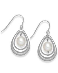 Macy's | Metallic Cultured Freshwater Pearl Teardrop Earrings In Sterling Silver (8mm) | Lyst